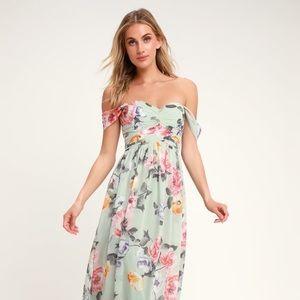 Lulus mint floral off shoulder maxi dress